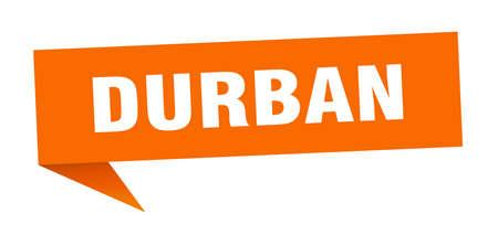 Durban sticker. Orange Durban signpost pointer sign