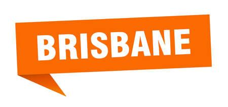 Brisbane sticker. Orange Brisbane signpost pointer sign