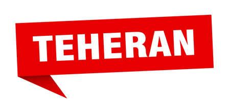 Teheran sticker. Red Teheran signpost pointer sign