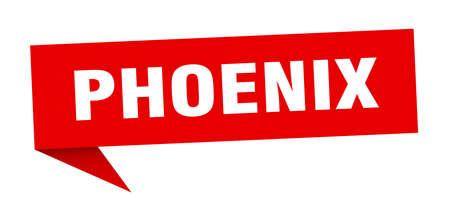 Phoenix sticker. Red Phoenix signpost pointer sign