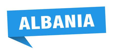 Albania sticker. Blue Albania signpost pointer sign Illusztráció