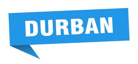 Durban sticker. Blue Durban signpost pointer sign