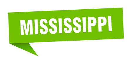Mississippi sticker. Green Mississippi signpost pointer sign