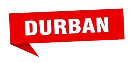Durban sticker. Red Durban signpost pointer sign Illustration