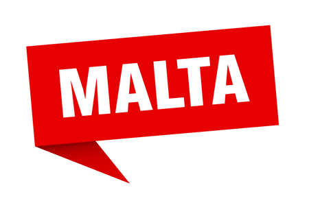 Malta sticker. Red Malta signpost pointer sign