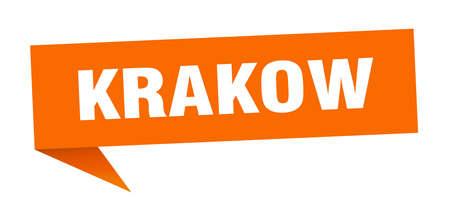 Krakow sticker. Orange Krakow signpost pointer sign Ilustração