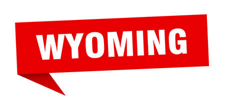 Wyoming sticker. Red Wyoming signpost pointer sign 向量圖像