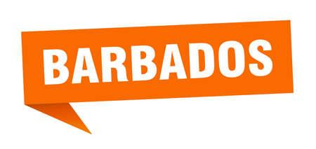 Barbados sticker. Orange Barbados signpost pointer sign
