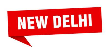 New Delhi sticker. Red New Delhi signpost pointer sign