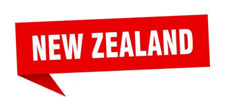 New Zealand sticker. Red New Zealand signpost pointer sign Ilustracja