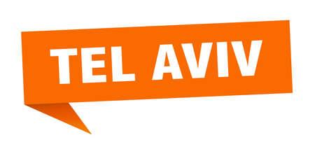 Tel Aviv sticker. Orange Tel Aviv signpost pointer sign Vektoros illusztráció
