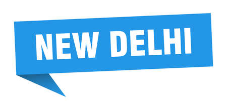 New Delhi sticker. Blue New Delhi signpost pointer sign