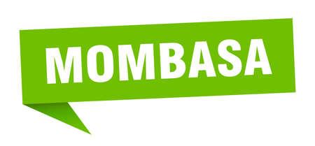 Mombasa sticker. Green Mombasa signpost pointer sign Illusztráció