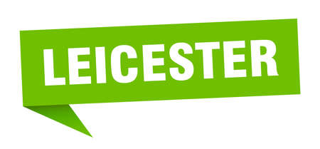 Leicester sticker. Green Leicester signpost pointer sign