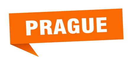 Prague sticker. Orange Prague signpost pointer sign