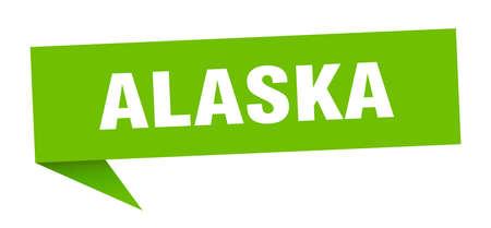Alaska sticker. Green Alaska signpost pointer sign