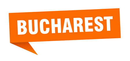Bucharest sticker. Orange Bucharest signpost pointer sign