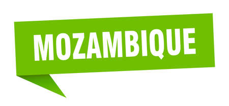 Mozambique sticker. Green Mozambique signpost pointer sign