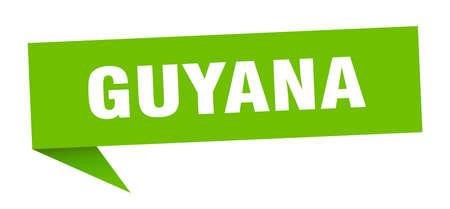 Guyana sticker. Green Guyana signpost pointer sign Illusztráció