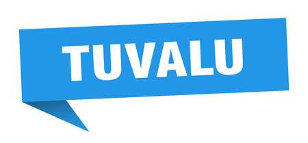 Tuvalu sticker. Blue Tuvalu signpost pointer sign