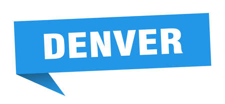 Denver sticker. Blue Denver signpost pointer sign