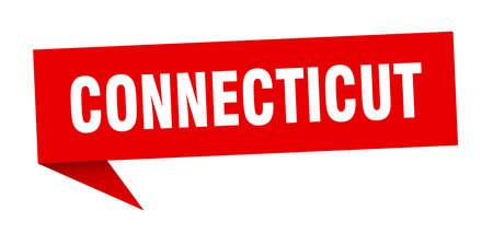 Connecticut sticker. Red Connecticut signpost pointer sign Illusztráció