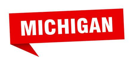 Michigan sticker. Red Michigan signpost pointer sign