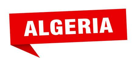 Algeria sticker. Red Algeria signpost pointer sign