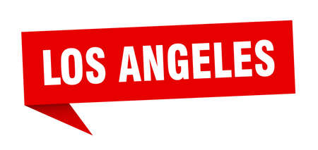 Los Angeles sticker. Red Los Angeles signpost pointer sign