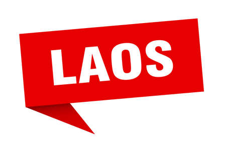 Laos sticker. Red Laos signpost pointer sign