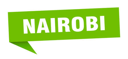 Nairobi sticker. Green Nairobi signpost pointer sign