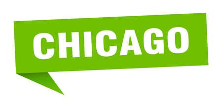 Chicago sticker. Green Chicago signpost pointer sign