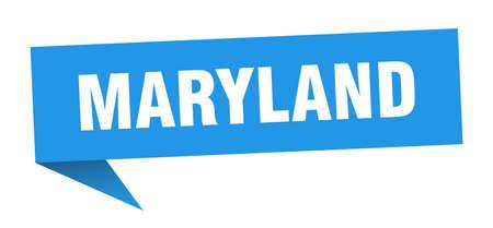 Maryland sticker. Blue Maryland signpost pointer sign Illusztráció
