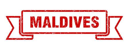 Maldives ribbon. Red Maldives grunge band sign