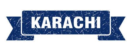 Karachi ribbon. Blue Karachi grunge band sign