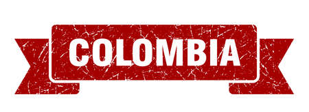 Colombia ribbon. Red Colombia grunge band sign