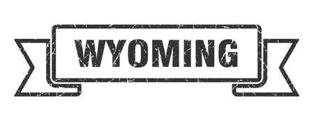 Wyoming ribbon. Black Wyoming grunge band sign 向量圖像