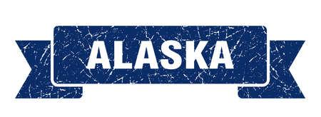 Alaska ribbon. Blue Alaska grunge band sign