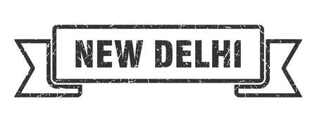 New Delhi ribbon. Black New Delhi grunge band sign