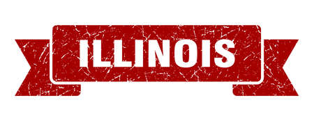 Illinois ribbon. Red Illinois grunge band sign 向量圖像
