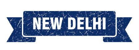 New Delhi ribbon. Blue New Delhi grunge band sign