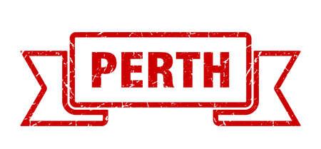 Perth ribbon. Red Perth grunge band sign