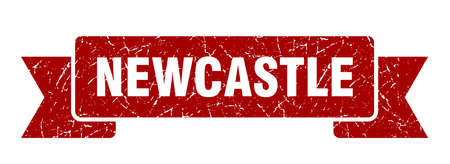 Newcastle ribbon. Red Newcastle grunge band sign