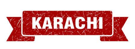 Karachi ribbon. Red Karachi grunge band sign Illustration
