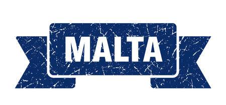 Malta ribbon. Blue Malta grunge band sign