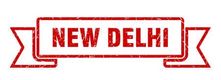 New Delhi ribbon. Red New Delhi grunge band sign