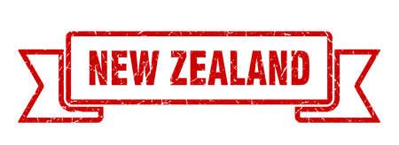 New Zealand ribbon. Red New Zealand grunge band sign