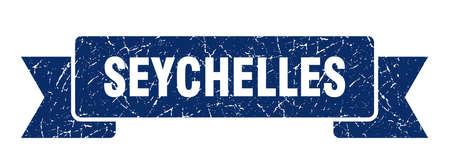 Seychelles ribbon. Blue Seychelles grunge band sign