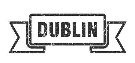 Dublin ribbon. Black Dublin grunge band sign