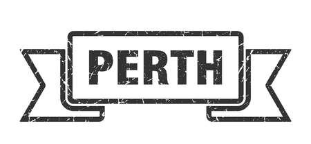 Perth ribbon. Black Perth grunge band sign